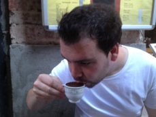 Sampling some Turkish coffee