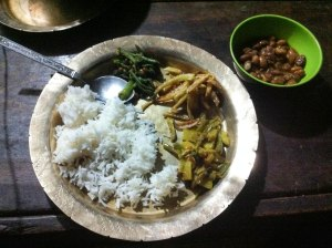 A typical dinner of rice and veg