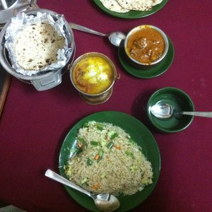 Curries with fried rice and roti