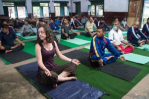 Trying some yoga in Syangja