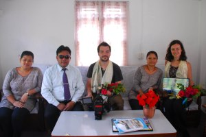 Adam and me with staff at Waling School