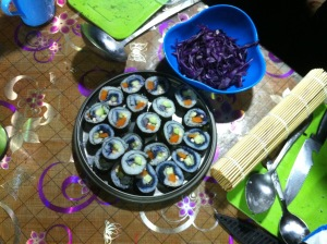 Some veggie sushi we made in the Gobi desert