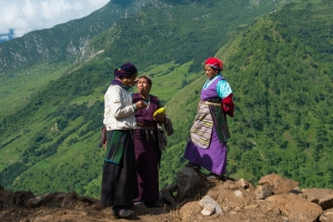 Women in Tibetan traditional dress in Langtang NP