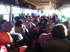 Our crowded bus, which was our home for almost two days